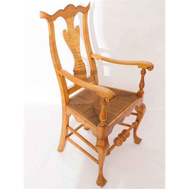 Six Chippendale Style Tiger Maple Dining Chairs For Sale In Atlanta - Image 6 of 9
