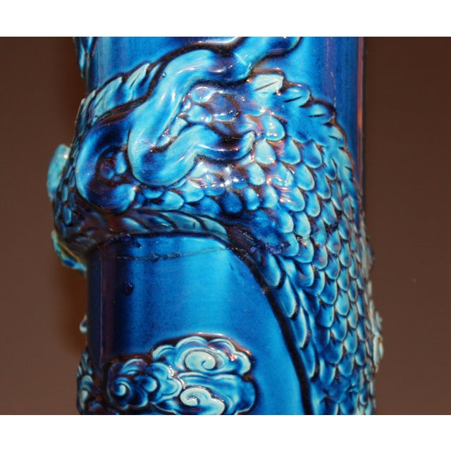 Antique Kyoto Dragon Japanese Awaji Pottery Floor Vase For Sale - Image 4 of 12