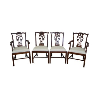 Maitland Smith Chippendale Style Solid Mahogany Dining Chairs- Set of 4