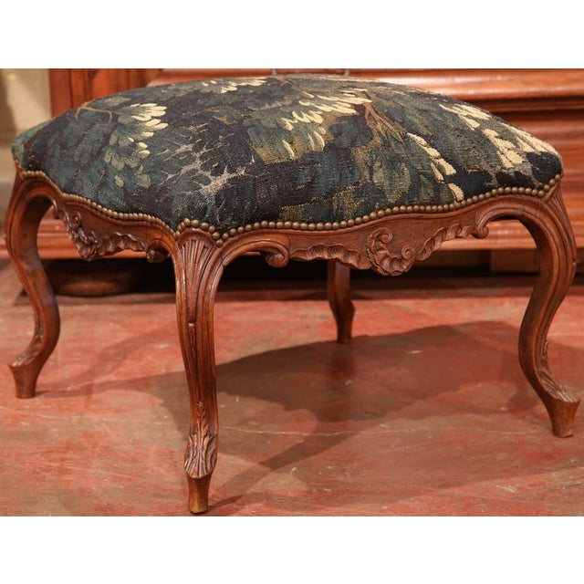 18th Century French Louis XV Walnut Square Stool With Aubusson Tapestry For Sale In Dallas - Image 6 of 9