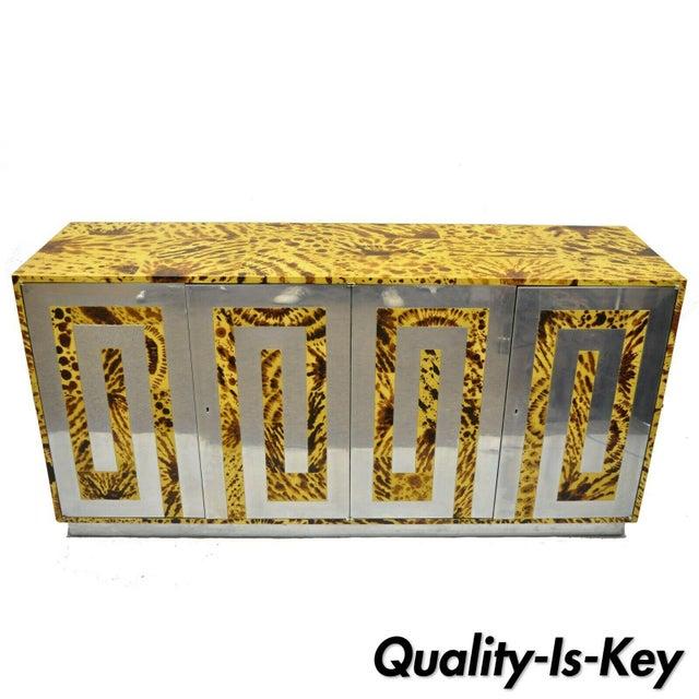 Mid Century Milo Baughman Chrome Greek Key Oil Drop Lacquer Credenza For Sale - Image 12 of 12
