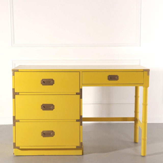 Lacquered Bright Yellow Campaign Desk For Sale - Image 10 of 10