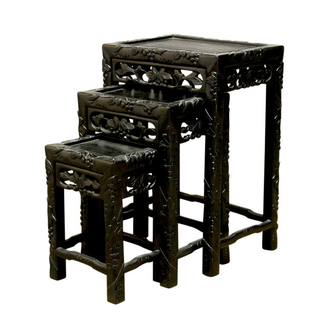 Chinese Ebonized Nesting Tables - Set of 3 For Sale