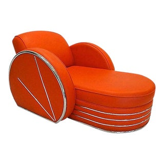 Vintage Art Deco Style Red Vinyl & Chrome Chaise Lounge Chair For Sale