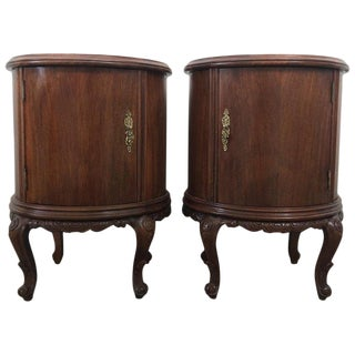 Art Deco Carved Walnut Round Nightstands, a Pair For Sale