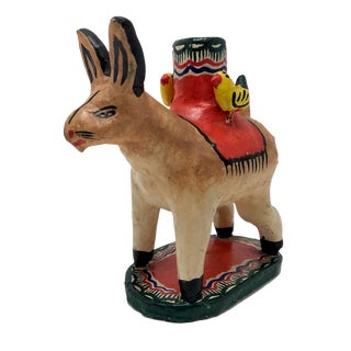 Vintage Hare With Birds Vintage Mexican Folk Art Candleholder For Sale