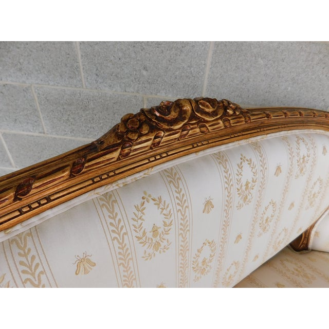 """Quality Louis XVI Style Gilt Frame Settee Sofa 57""""w For Sale - Image 10 of 13"""
