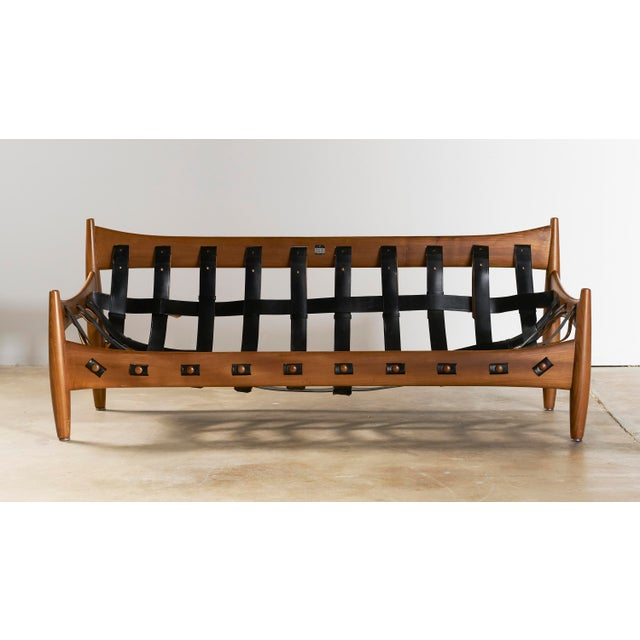 1960s Mid Century Brazilian Modern Sheriff Sofa in Black Leather Designed by Sergio Rodrigues. For Sale - Image 5 of 9