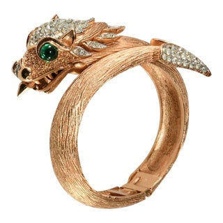 Trifari Dragon Hinged Clamper Bracelet Something Wild Collection 1960s For Sale