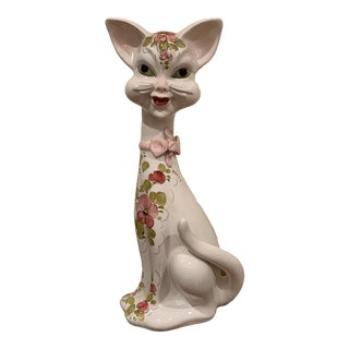 1970's Hand Painted Ceramic Cat Figurine- Made in Italy For Sale