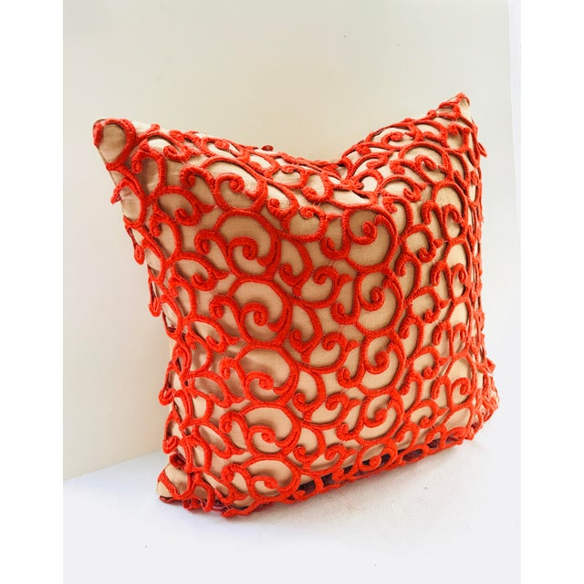 Dransfield & Ross Orange Lace Scroll on Linen Decorative Pillow For Sale - Image 4 of 13