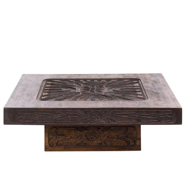 Large custom coffee table with carved abstract relief, California 1960s. This table would be great in a classic or...