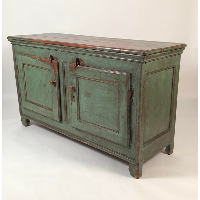 French French Country Canadian Green Painted Side Cabinet For Sale - Image 3 of 13