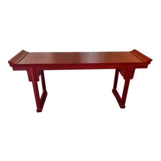 Baker Furniture Chinese Cinnabar Red Large Altar Console Table