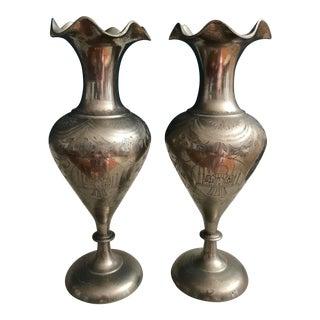 Vintage Engraved Taj Mahal Vases - A Pair