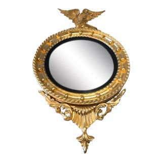 Antique Gilt American Eagle Round Mirror For Sale