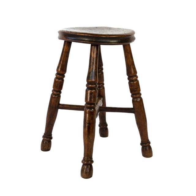 Round Fruitwood Work Stool With Four Turned Legs, Circa 1870 For Sale In San Francisco - Image 6 of 6