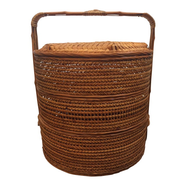 Antique Chinese Tiered Wicker Basket For Sale