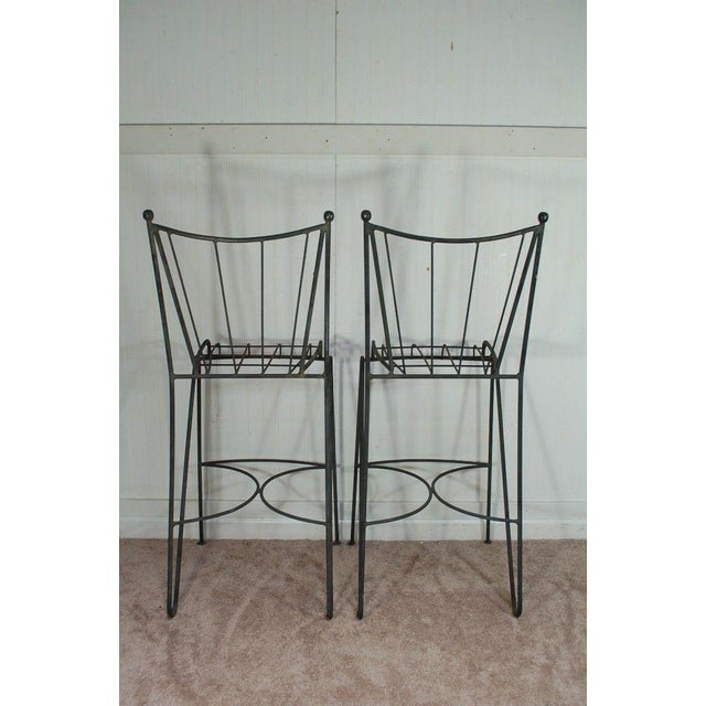 Mid Century Modern Wrought Iron Hairpin Bar Stools - A Pair - Image 2 of 11