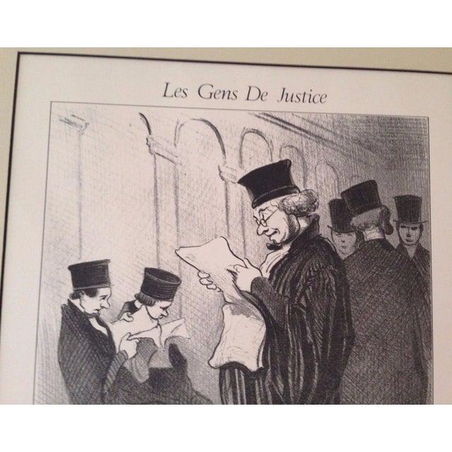 "Lithograph Vintage Framed Honore Daumier ""Les Gens De Justice"" 885"" Lithograph Print For Sale - Image 7 of 8"
