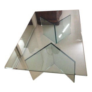 3 Piece Glass Coffee Table For Sale