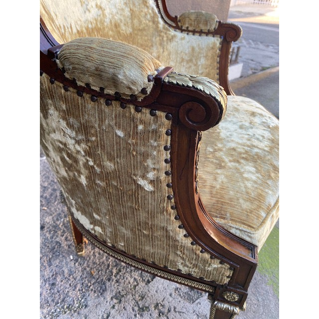 19th Century Vintage French Bronze Mounted Barrel Chair For Sale - Image 11 of 13