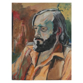 """Jack Freeman """"a.m. Tuggle"""" Modernist Portrait of a Man in Oil, 1972 For Sale"""