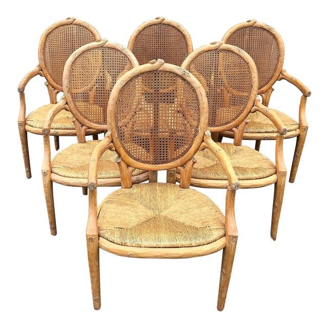 1970s Vintage Faux Bois Louis XVI Armchairs - Set of 6 For Sale
