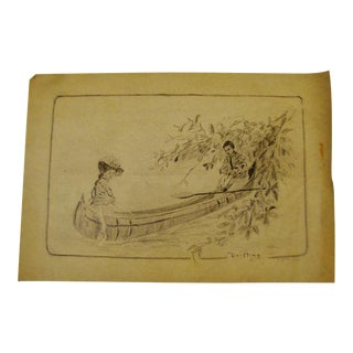 Original Artist Signed Victorian Pencil Sketching of Courting Couple For Sale