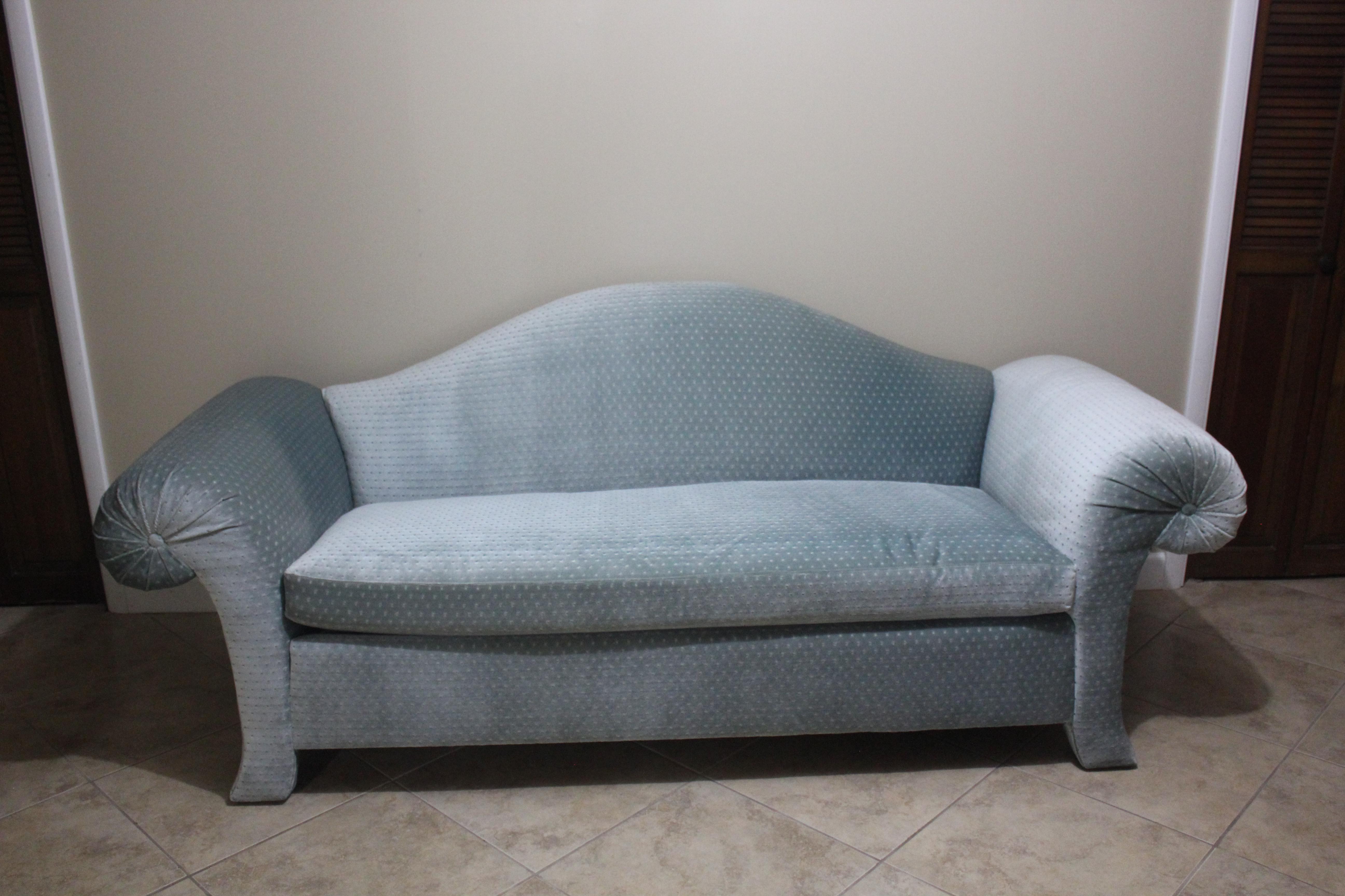 Vintage Weiman Blue Velvet Sofa   Image 2 Of 8