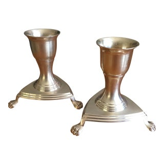 Vintage Claw Foot Brass Candle Holders- A Pair For Sale