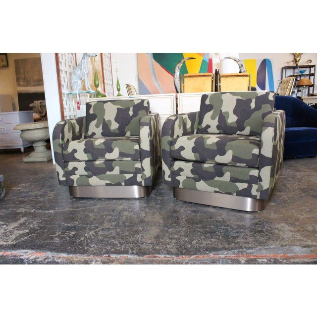 Camouflage Cube Chairs With Bronze Plith - Pair - Image 3 of 8