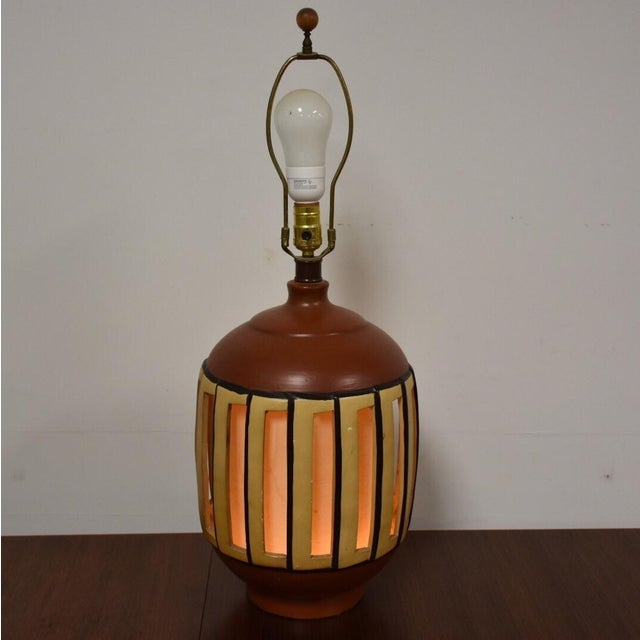 Mid Century Pottery Table Lamp - Image 2 of 9
