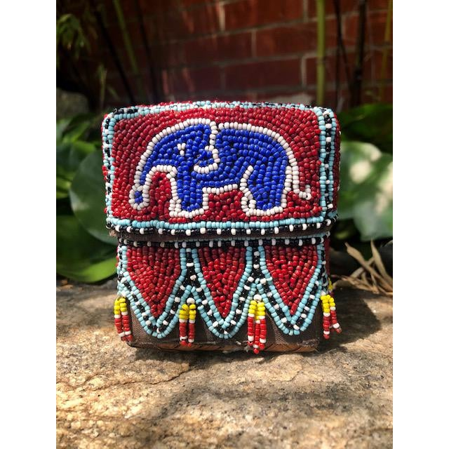 Vintage Red Elephant Indonesian Hand Beaded Basket With Lid For Sale - Image 11 of 11