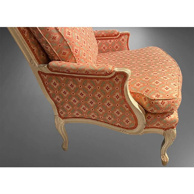 Louis XVI Painted Bergère or Lounge Chairs, Scalamandre Upholstery - a Pair For Sale - Image 4 of 13