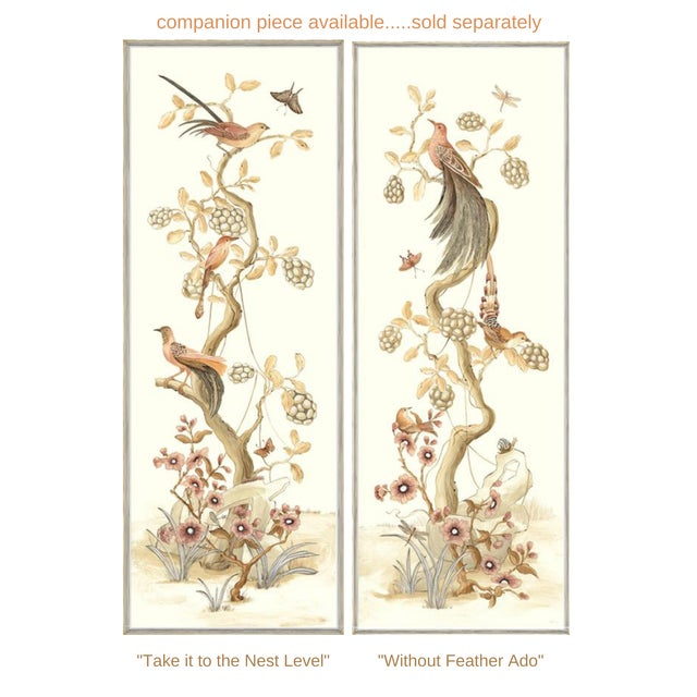 """Chinoiserie Style Bird Painting, """"Without Feather Ado"""" For Sale - Image 10 of 10"""