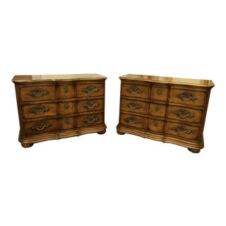 Century Furniture 3-Drawer Serpentine Front Nightstands - a Pair For Sale
