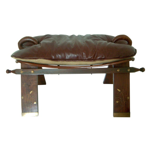 Antique Brass Inlay Persian Camel Stool With Plush New Leather Cushion For Sale