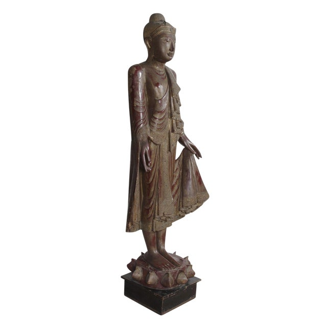 Carved Wood Buddha Statue - Image 1 of 8