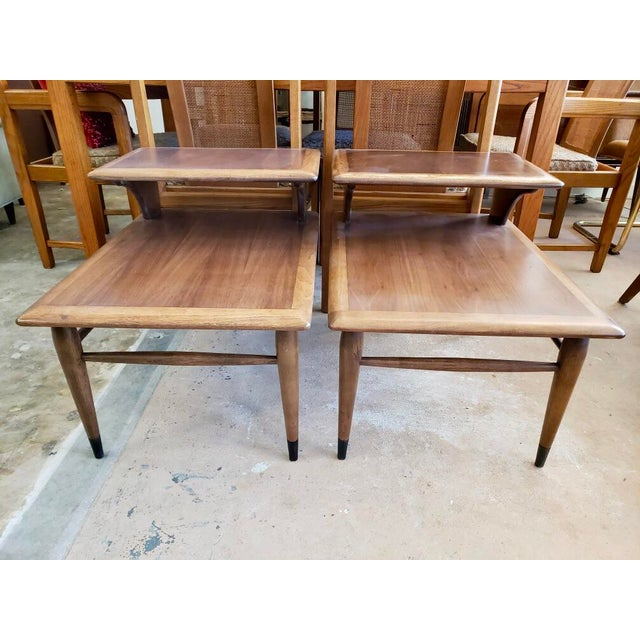 1963 Mid Century Modern Lane Walnut Step Side Tables - a Pair For Sale In Charleston - Image 6 of 6