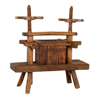 Antique Primitive Wood Wine Press For Sale