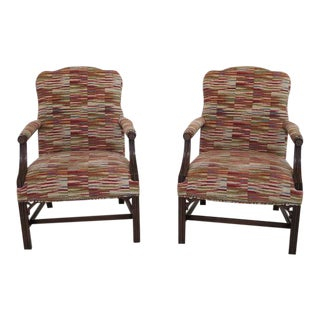 Chippendale Mahogany Open Arm Library Chairs - A Pair For Sale