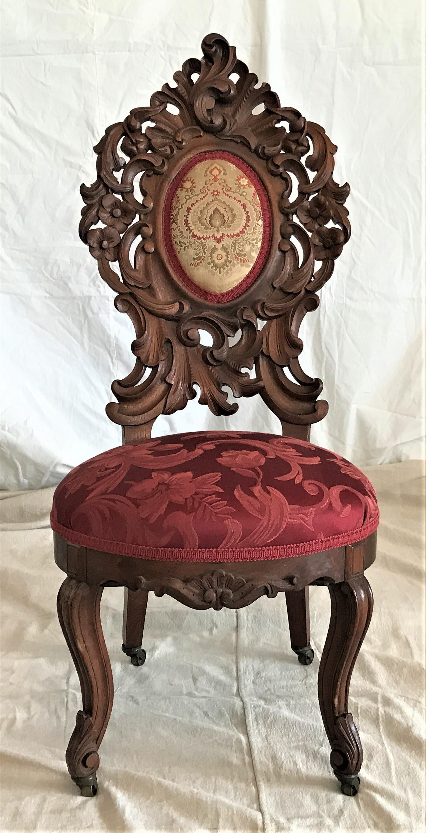 Superbe 1860 Carved Victorian Rococo Chair   Image 2 Of 7