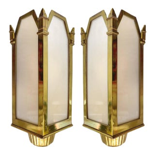 1930s American Art Deco Bronze and Glass Theater Sconces - A Pair For Sale