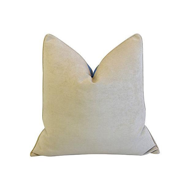 """Cotton Designer Nautical Blue Coral & Shells Feather/Down Pillows 26"""" Square - Pair For Sale - Image 7 of 12"""