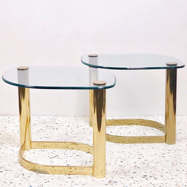 Brass Pace Collection Brass & Glass Side Tables - a Pair For Sale - Image 8 of 8