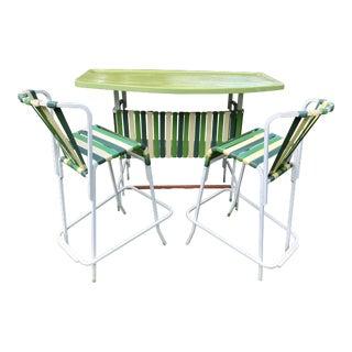 1960s Hollywood Regency Brown Jordan Green Vinyl and Fiberglass Bar and Stools - 3 Pieces