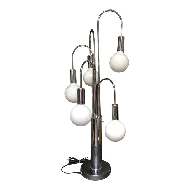 1960s Mid-Century Modern Robert Sonneman Chrome 'Waterfall' Table Lamp For Sale