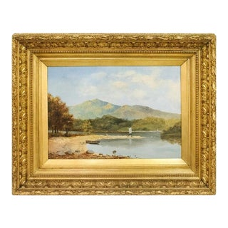 19th Century English Landscape With Sailboat For Sale