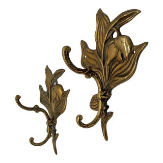 20th Century Brass Flower Double Hooks - a Pair For Sale